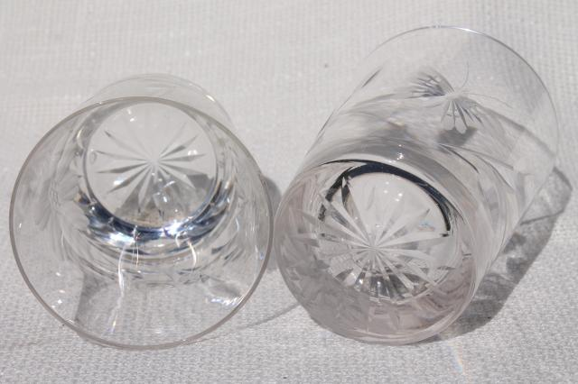 cut crystal tumblers w/ butterfly and flower design, drinking glasses w/ butterflies