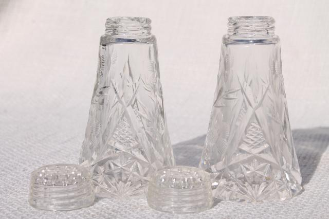 Cut Etched Crystal Salt And Pepper Shakers W Glass Lids Vintage