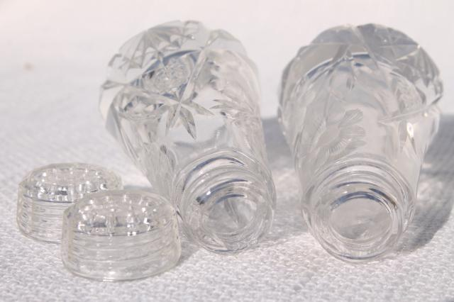 Cut Etched Crystal Salt And Pepper Shakers W Glass Lids