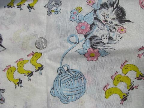 cute baby kittens & ducks print cotton fabric, 1950s vintage