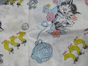 Vintage sewing notions feed sack fabric for Cute baby fabric prints