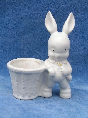 cute vintage pottery planter, baby rabbit