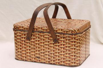 cute vintage tin picnic hamper w/ wood handles, wicker basket weave print litho