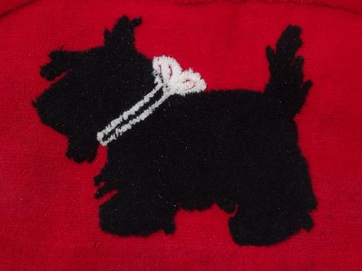 cutest ever vintage Scotty dog rug, red w/ black Scottie, 50s retro!