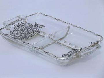 daisy aster silver overlay glass, divided pickle dish vintage 1950s