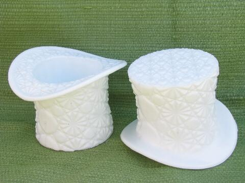 daisy & button pattern vintage milk glass hats, large top hat vases
