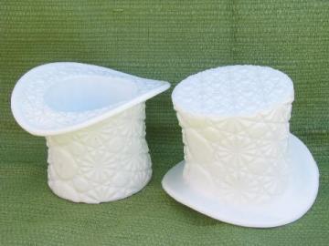 daisy & button pattern vintage milk glass hats, large top hat vases