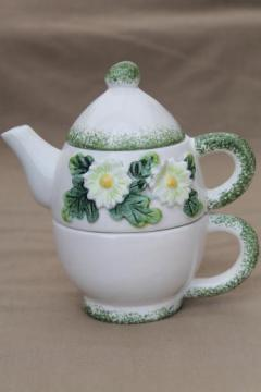 daisy pattern ceramic tea set for one, vintage teapot & stacking cup tea mug