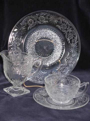 Daisy Pattern Depression Glass Luncheon Set Vintage Indiana