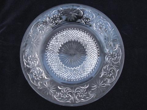 Daisy Pattern Depression Glass Luncheon Set Vintage Indiana