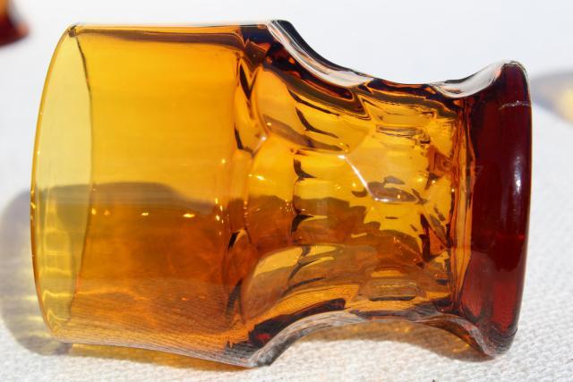 Dark Amber Glass Georgian Pattern Tumblers Vintage