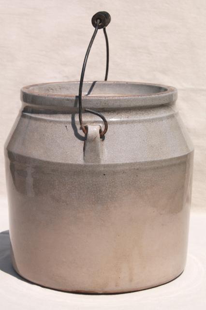 Dated 1890s Vintage Crock Antique Stoneware Jar W Wire