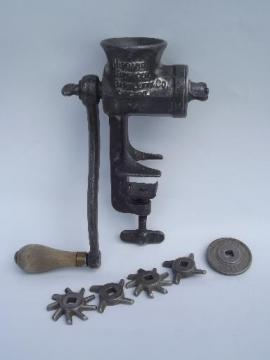 dated 1904 hand crank food chopper meat grinder, Hibbard Spencer Bartlett