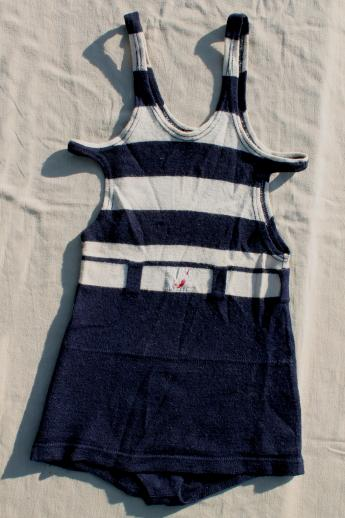 dated 1920s vintage wool swimsuit, nautical striped bathing suit, flapper era Jantzen swimming suit