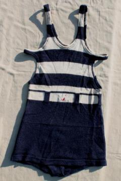 dated 1920s vintage wool swimsuit, nautical striped bathing suit, flapper era Jantzen swimming suit