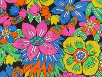 day-glo bright neon flowers on black, 80s retro vintage cotton fabric