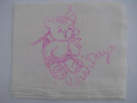days of the week vintage cotton feedsack towels stamped to embroider