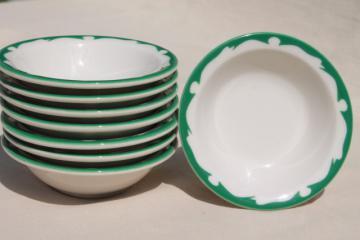 deco airbrush stencil china restaurant ware bowls, vintage Buffalo china ironstone