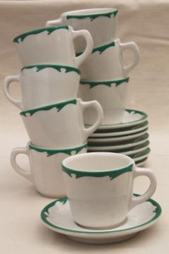 deco airbrush stencil china restaurant ware coffee cups & saucers, vintage Buffalo china ironstone