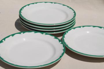 deco airbrush stencil china restaurant ware dinner plates, vintage Buffalo china ironstone