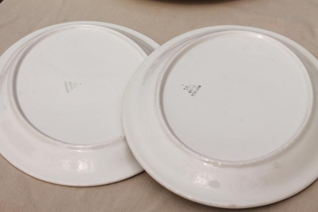 deco airbrush stencil china restaurant ware oval plates, vintage Buffalo china ironstone