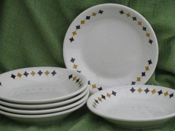 deco black and gold checkered diamond ironstone soup bowls, Mayer china