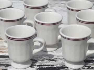 deco ironstone coffee cups,vintage Buffalo china footed mugs white w/ wine bands