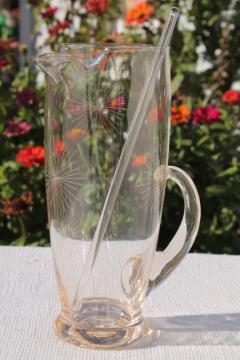 deco mod vintage glass cocktail pitcher w/ atomic starburst etched design