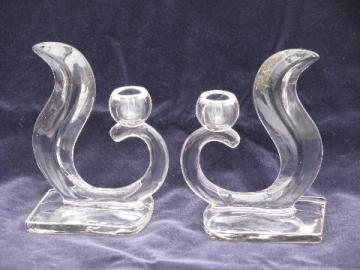 deco moderne, pair of vintage art glass candlesticks, curvy shape
