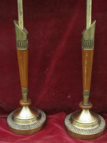 deco moderne solid brass & wood lamps w/ glass shades, 40s - 50s vintage Stiffel