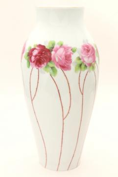 deco moderne vintage table lamp base, tall china vase w/ rose canes & roses