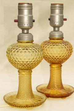 deco vintage amber yellow depression glass lamps, hobnail glass boudoir lamp set