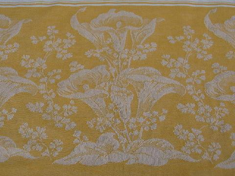 deco vintage calla lily damask tablecloth, deep gold jacquard border