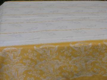 deco vintage calla lily damask tablecloth, deep gold jacquard border