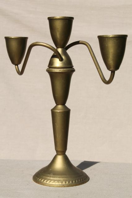 deco vintage candelabra candle holders, branched arms candlesticks w/ gilt gold paint over brass