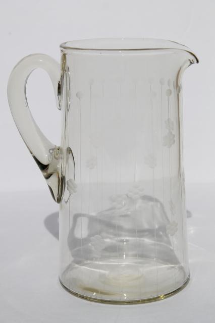 Deco Vintage Etched Glass Cocktail Pitcher Or Lemonade
