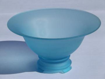 deco vintage frosted glass bowl and stand, aqua blue like sea beach glass
