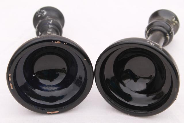 deco vintage matte black satin frosted glass candlesticks w/ distressed antiqued silver