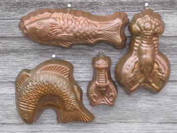 decorative copper fish and lobster molds for aspic, molded jello salads