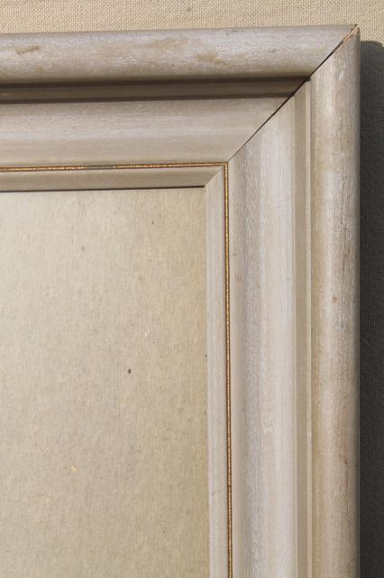 deep picture frame w/ easel back stand, vintage lime wax / whitewash color distressed wood