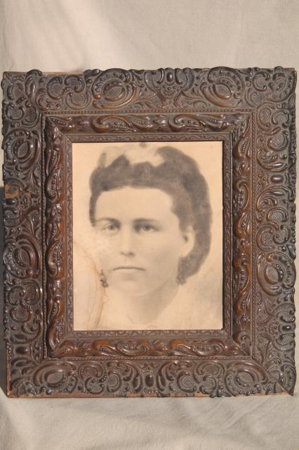 Deep Picture Frame W Lovely Antique Gesso Decoration