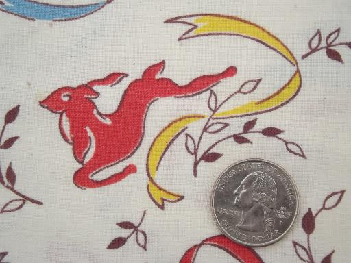 deer print vintage cotton feed sack fabric, authentic original feedsack