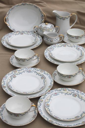 Delicate Hand Painted Porcelain Tea Set Or Luncheon Dishes