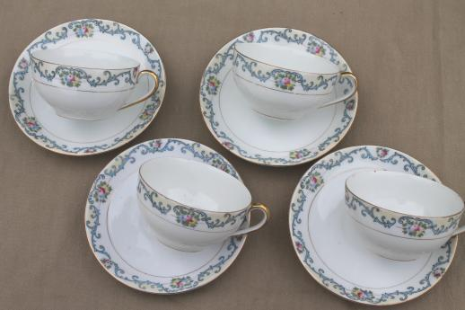 delicate hand-painted porcelain tea set or luncheon dishes, vintage Field - Japan china