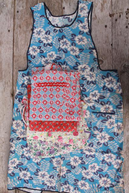 Depression Era Vintage Print Cotton Feedsack Aprons Farm