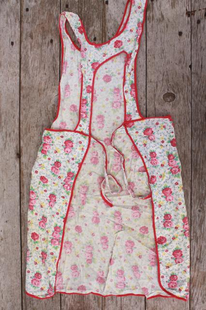 depression era vintage print cotton feedsack aprons, farm kitchen apron lot
