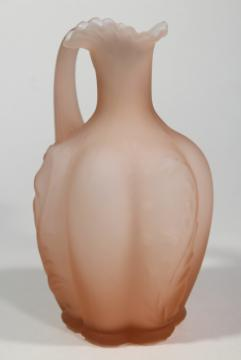 depression pink frosted satin mist glass cruet pitcher, overlay cased glass white & pink
