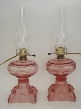 depression pink glass lamps, A Homestead Shoppe electricfied oil lamps