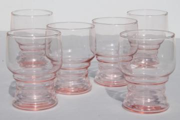 depression pink glass tumblers, stacked bands ring rib grip pattern drinking glasses