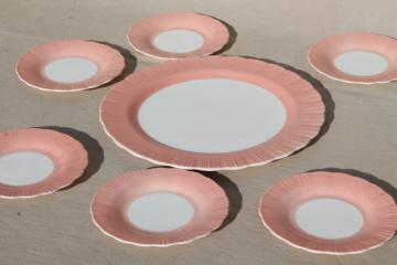 depression vintage Cremax milk glass cake plates dessert set, pink crinoline ruffle glass